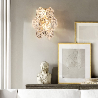 Living Room Snowflake Wall Light Clear Crystal Two Lights Elegant Style Gold Sconce Light