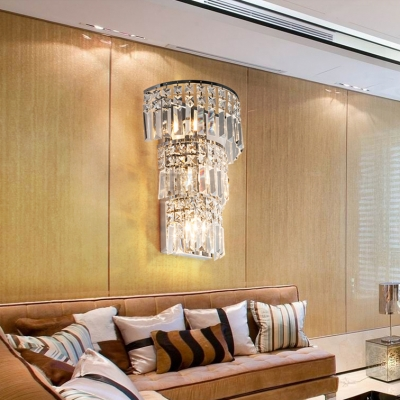 Luxurious Style 3-Tier Wall Light Three Lights Clear Crystal Wall Lamp in Chrome for Stair Corridor