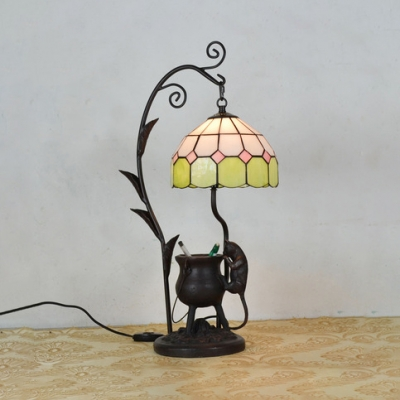 Resin Ancient Tripod&Mouse Table Light Office 1 Head Ancient Tiffany Table Lamp with Lattice Dome
