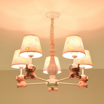 Resin Elephant Suspension Light with Tapered Shade 3/5/6/8 Lights Animal Chandelier in Pink