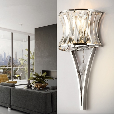 Romantic Curved Shade Wall Sconce Metal One Head Chrome Wall Lamp for Dining Room Bedroom
