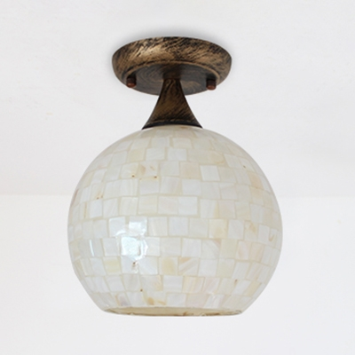 Rustic Style Beige Ceiling Mount Light Globe Shade 1 Light Shell Flush Light for Balcony Kitchen