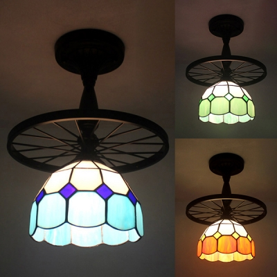 Traditional Blue/Green/Orange Ceiling Lamp Grid Bowl 1 Light Art Glass Semi Ceiling Mount Light with Wheel for Corridor
