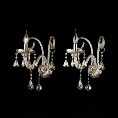 1/2/3 Bulbs Candle Sconce Light Elegant Stylish Clear Crystal Wall Lamp for Restaurant Hotel