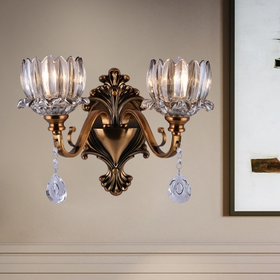 1/2 Light Lotus Wall Sconce Luxurious Metal Wall Light in Brass with Crystal for Dining Room