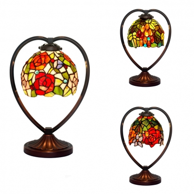 Beautifulhalo coupon: 1 Bulb Floral Desk Light Tiffany Vintage Stained Glass Table Light for Living Room Bar