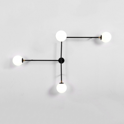 2/4-Light Crossed Lines Wall Lamp Post Modern White Glass Ball Sconce Light in Black/Gold