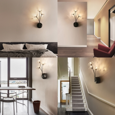 3 Bulbs Dandelion Wall Lamp with Crystal Classic Style Metal Wall Light in Black for Bedroom
