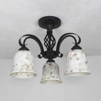 3 Heads Bell/Dome Ceiling Light Tiffany Traditional Art Glass Semi Flush Light for Villa Restaurant