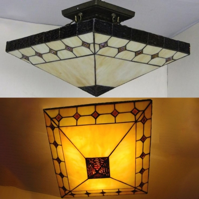 3 Lights Craftsman Semi Flush Ceiling Light Antique Style Art Glass Ceiling Fixture in Beige for Kitchen