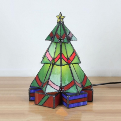 Christmas Tree Home Deco Night Light Stained Glass 3/4 Tier Tiffany Creative Table Light in Green