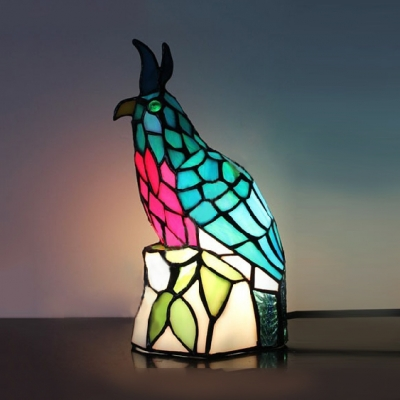 Bird/Cock/Fish/Frog Night Light 1 Light Stained Glass Tiffany Table Light for Living Room