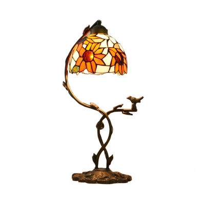 Rustic Bronze Table Light Grid/Sunflower 1 Light Stained Glass Night Light with Bird for Hotel