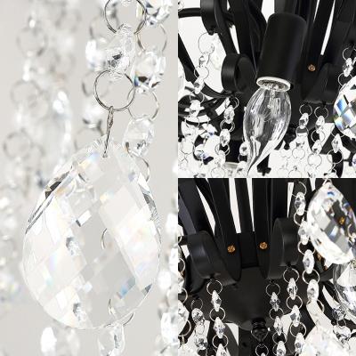 Traditional Matte Black Chandelier Clear Crystal 3/7 Lights Metal Hanging Light for Restaurant
