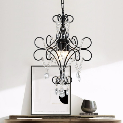 Colonial Style Candle Chandelier with Crystal Bead 1/3 Heads Metal Pendant Light in Black for Restaurant