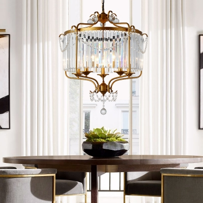 Black/Gold Round Pendant Light with Crystal 5 Lights Classic Style Chandelier for Dining Room