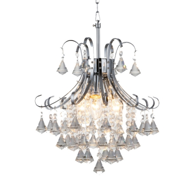 Clear Crystal Ball Hanging Light 3 Bulbs Traditional Style Chandelier in Chrome for Living Room