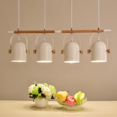 Rotatable Macaron Dome Island Chandelier 3/4 Lights Metal Wood Island Light in White for Restaurant