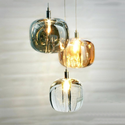 Amber/Clear/Smoke Stone-Like Mini Pendant Simple Glass Shade One Head Hanging Light for Bar Cafe