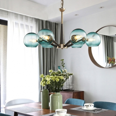 Blue/Clear/Cream Globe Chandelier 5/6 Lights Modern Stylish Ceiling Pendant for Study Room