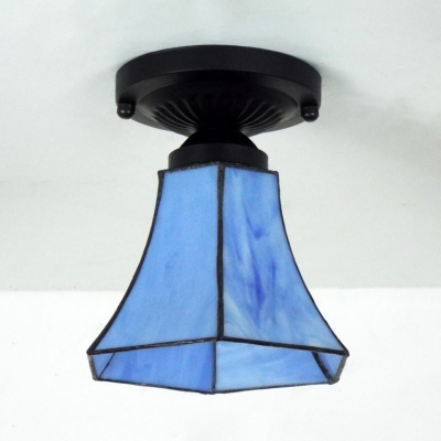 Cafe Kitchen Bell Mini Ceiling Fixture Art Glass 1 Bulb Tiffany Blue/Light Blue Ceiling Mount Light