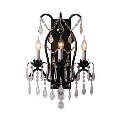 Candle Foyer Restaurant Wall Light Metal 3 Lights Classic Style Sconce Light in Black/Gold