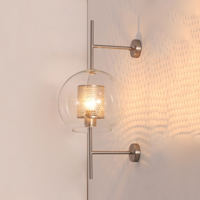 Clear Glass Spherical Wall Light Modern 1 Head Brass/Silver Sconce with Inner Mesh Cage