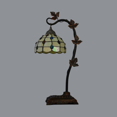 Dome Living Room Table Light with Leaf Arm Art Glass Tiffany Vintage Night Light in Beige/Blue/Green/Multi-Color