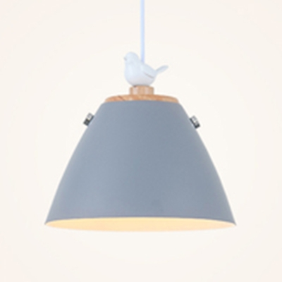Gray/Green/White/Yellow Cone Shade Hanging Pendant Nordic Style Metal 1 Head Suspension Lamp with Bird Accent