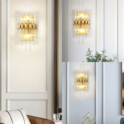 Metal Fake Candle Wall Lamp 2 Lights Contemporary Sconce Light in Gold for Bedroom Bathroom