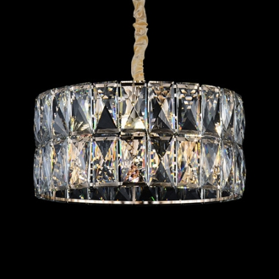 Modern Style Drum Pendant Lamp 8 Lights Clear Crystal Chandelier in Champagne for Study Room