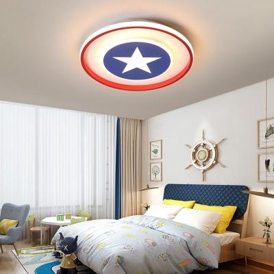 Nordic Blue Star Ceiling Mount Light Acrylic Stepless Dimming/Warm/White LED Flush Light for Kid Bedroom