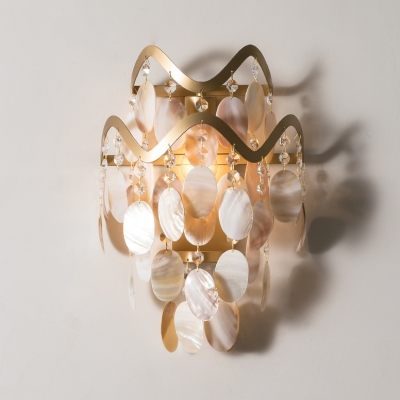 Restaurant Oval Shell Wall Light Metal 1 Light Traditional Gold Sconce Light with Crystal Bead