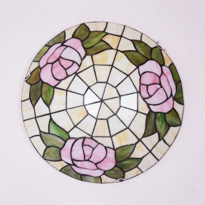 Rustic Style Rose Ceiling Mount Light Art Glass Flush Light in Beige for Dining Room