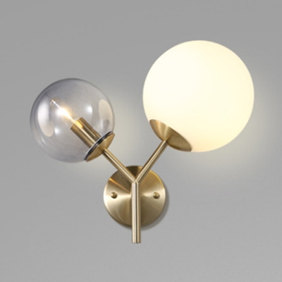 Smoke and White Glass Ball Wall Light Post Modern 2 Head Sconce Lighting in Gold Finish