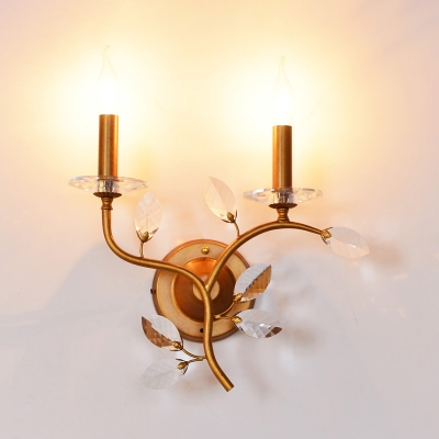 Villa Candle/Tapered Shade Wall Light with Crystal Leaf Metal 2 Heads Traditional Sconce Light in Antique Brass