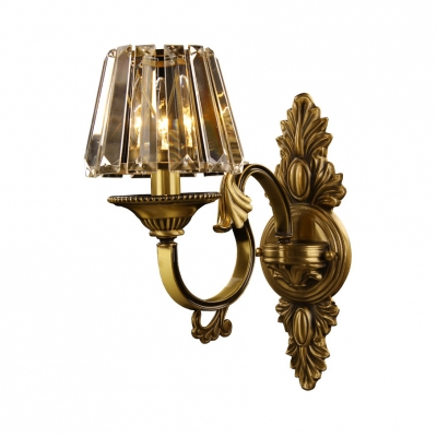 1 Bulb Tapered Shade Wall Light Traditional Style Metal Sconce Light in Gold for Villa Porch