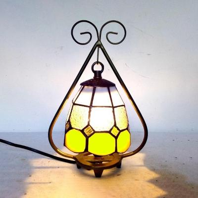Hotel Cafe Lattice Dome Night Light Art Glass 1 Bulb Antique Tiffany Blue/Yellow Table Light