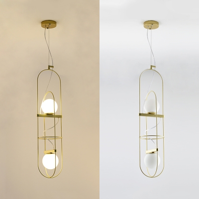 Gold Oval Chandelier with Globe Shade 2 Lights Modern Style Frosted Glass Pendant Light for Cafe
