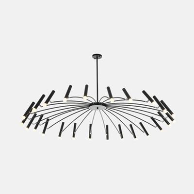 Black/Rose Gold Fireworks Chandelier 12/24 Bulbs Modern Stylish Metal Hanging Light for Dining Room