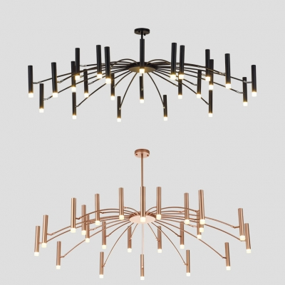 Spider Living Room Chandelier Metal 24 Lights Nordic Simple Hanging Light in Black/Rose Gold
