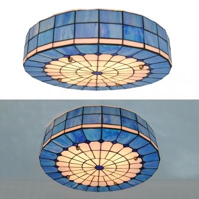 Living Room Grid Round Flush Light Art Glass 4 Lights Tiffany Style Blue Ceiling Mount Light