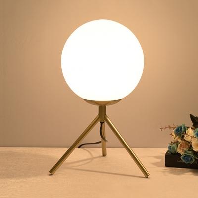 Black/Gold Tripod Table Lamp Modern Style White Glass 1 Bulb Desk Lamp for Bedside