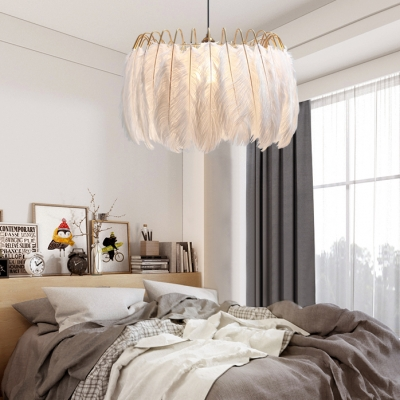 Contemporary Drum Ceiling Pendant Feather Single Light White Hanging Light for Restaurant Bedroom