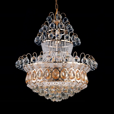 Crown Shape Restaurant Pendant Light Eye-Catching Crystal Royal Style Chandelier in Gold