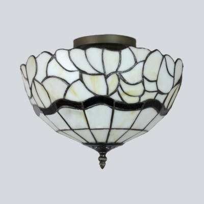 Domed Dining Room Flush Mount Light Art Glass Antique Tiffany Ceiling Lamp in Beige