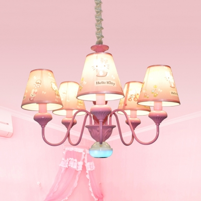 Girls Bedroom Kitty/Princess Chandelier Metal 5 Lights Lovely Pink