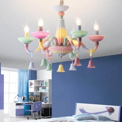 Glass Candle Pendant Light 6 Lights Macaron Loft Multi-Color Chandelier for Living Room