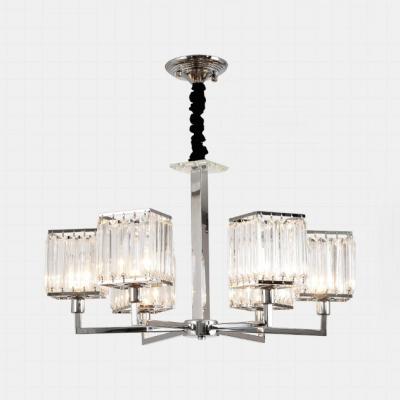 Glittering Crystal Cube Chandelier 6/8 Bulbs Postmodern Hanging Light in Chrome for Living Room