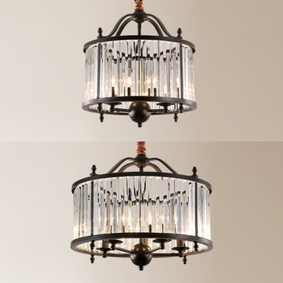 Metal Candle Suspension Light with Crystal Shade 3/5 Lights American Rustic Chandelier in Black for Villa HL541092 фото
